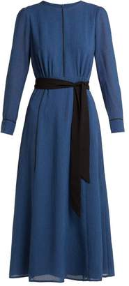 Cefinn - Tie Waist Voile Midi Dress - Womens - Blue