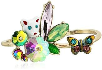 Betsey Johnson GBG Women's Colorful Stone and Cat Cluster Ring