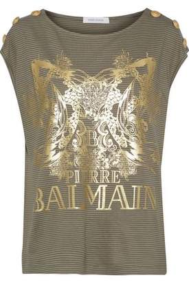 Pierre Balmain Button-Detailed Printed Striped Cotton-Blend Jersey Top