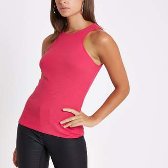 River Island Womens Pink ribbed cut out vest