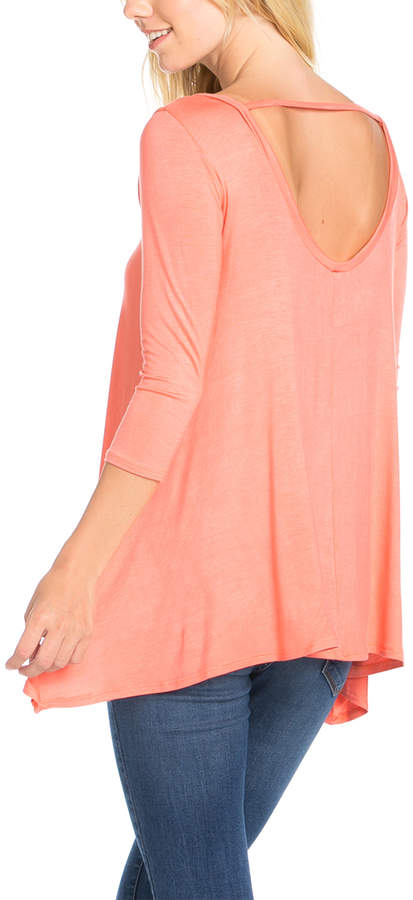 Coral Cut-Out Back Tunic - Women