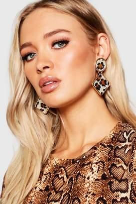 boohoo Statement Leopard Earrings