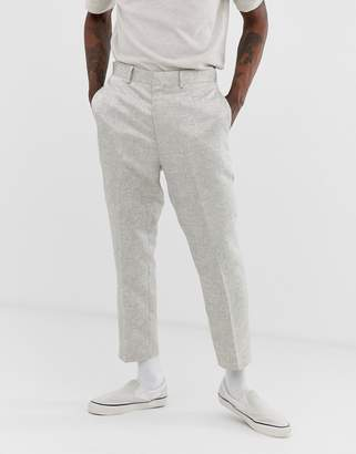 Asos Design DESIGN tapered suit trousers in silver jacquard