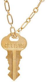 "The Giving Keys Goldtone 'BELIEVE' Pendant, 30""Dainty Chain"