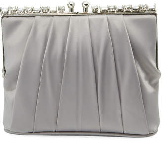 Adrianna Papell Satin Rhinestone Pouch Bag
