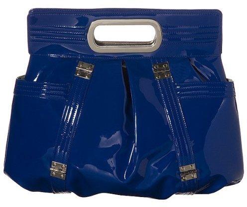 NYC by Perlina Patent Clutch Handbag - Cobalt