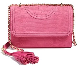 Tory Burch Small Fleming Snake Embossed Convertible Shoulder Bag - Pink $495 thestylecure.com