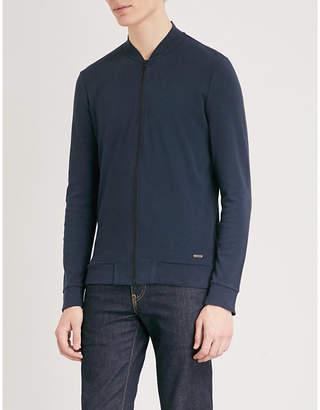 BOSS Zip-up slim-fit cotton-piqué jacket