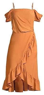 Maje Women's Portefeuille Ruffle Detail Midi Dress