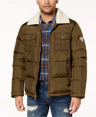 GUESS Men Quilted Jacket with Fleece Collar