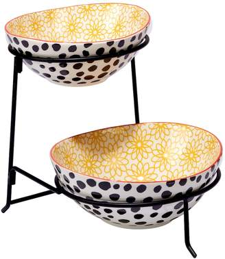Certified International Daisy Dots 2-Tier Server with Oval Bowls