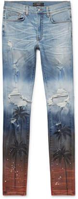 Amiri Thrasher Skinny-Fit Distressed Printed Stretch-Denim Jeans