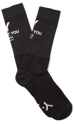 Y-3 Y 3 Slogan Print Stretch Knit Socks - Mens - Black