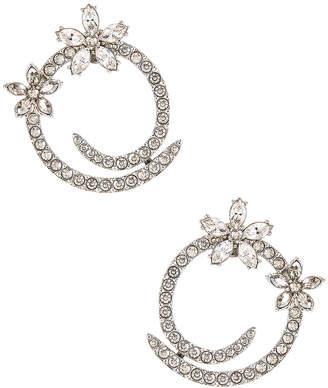 Oscar de la Renta Pave Flower Crystal Hoop Earrings in Silver | FWRD