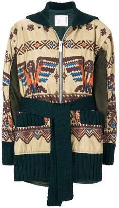 Sacai embroidered zipped coat