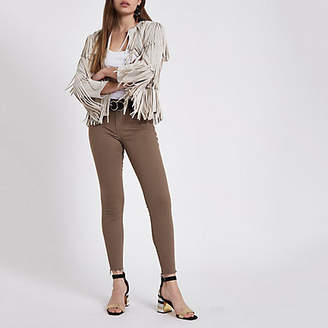 River Island Womens Khaki Molly mid rise ripped hem jeggings