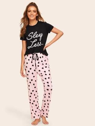 7f6555dcd7 Shein Slogan Print Top & Drawstring Waist Heart Pants PJ Set