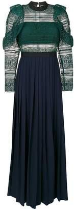 Self-Portrait lace pleated evening dress