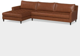 Rejuvenation Hastings Sectional Leather Sofa - Chaise Left