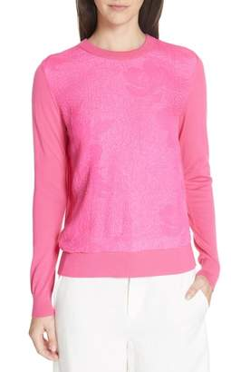 Tory Burch Floral Cloque Merino Wool Sweater