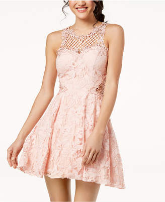 Juniors' Lace Appliqué Fit & Flare Dress