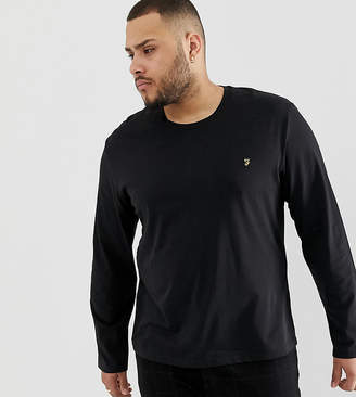 Farah Farris Slim Fit Long Sleeve T-Shirt in Black
