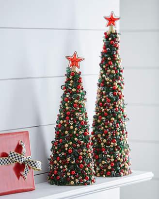 "Mackenzie Childs Tartan Frost Beaded Christmas Tree, 18"""