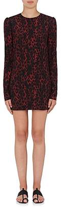 Saint Laurent Women's Leopard Crêpe de Chine Dress