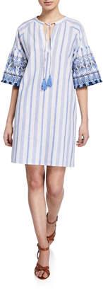 2a5de658b2 Neiman Marcus Striped Embroidered Linen Tassel Shift Dress