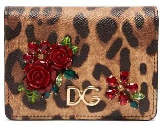 Dolce & Gabbana Leopard Print Dauphine Leather Wallet - Womens - Leopard