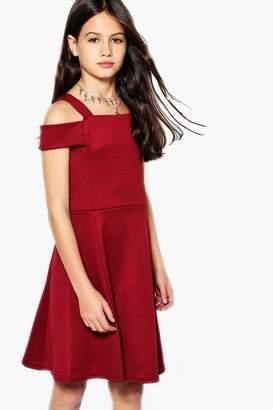 boohoo Girls Bardot Open Shoulder Skater Dress