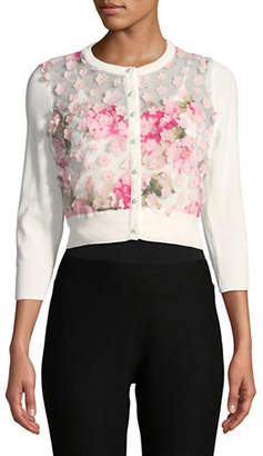 Karl Lagerfeld PARIS Floral Applique Cardigan