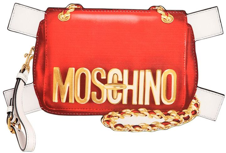 MoschinoBag Tabs Printed Leather Clutch