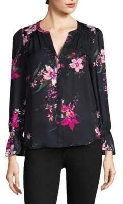 Joie Keno Floral-Print Bell-Sleeve Silk Blouse