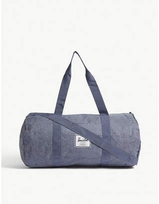Herschel Dark Chambray Blue Crosshatch Woven Sutton Mid Volume Duffle Bag