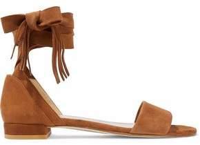 Stuart Weitzman Woman Fringed Suede Sandals Brown Size 36.5
