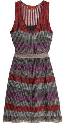 Missoni Metallic Striped Crochet-Knit Dress