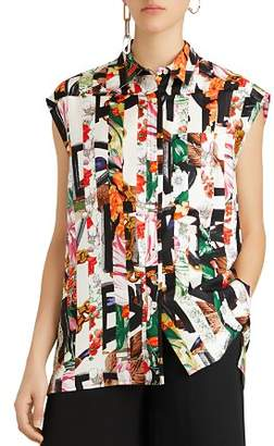 Burberry Hen Archive Print Mulberry Silk Top