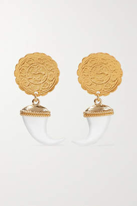 Kenneth Jay Lane Gold-tone And Faux Horn Earrings