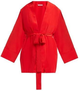 Worme - The Shore Silk Kimono Style Jacket - Womens - Red