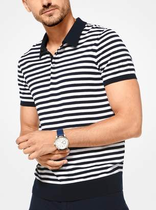 Michael Kors Striped Silk and Cotton Polo Shirt