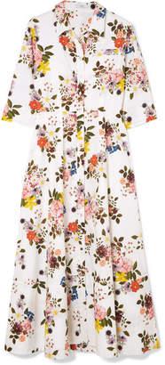 Erdem Kasia Floral-print Cotton-poplin Midi Dress - White