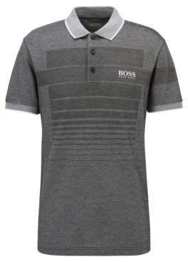 BOSS Hugo Cotton-blend patterned polo shirt contrast pique collar L Black