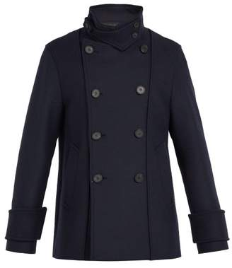 Wooyoungmi Double Breasted Wool Blend Peacoat - Mens - Black