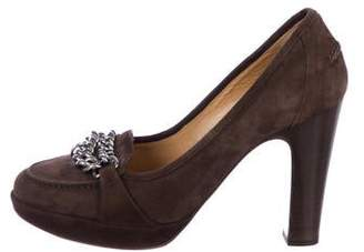 Hermes Chain-Link Suede Pumps