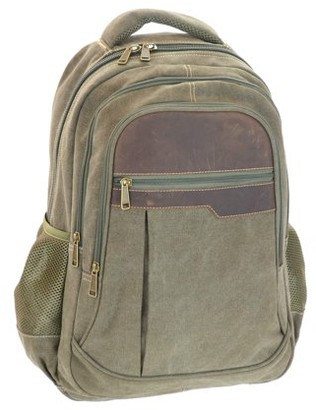 Montauk Leather Club Heavy Duty Washed Canvas and Vintage Leather Accent Backpack with 17 inch compatable Padded Laptop Sleeve