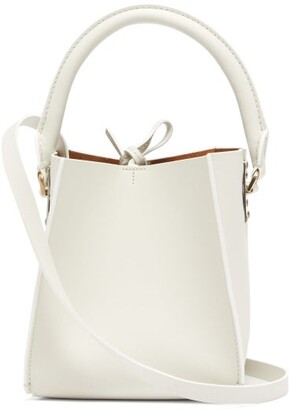 Sophie Hulme Albion Cube Nano Leather Bucket Bag - Womens - White