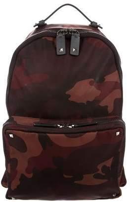 Valentino Rockstud Camouflage Nylon Backpack