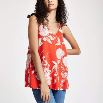 River Island Womens Red floral split strap cami top