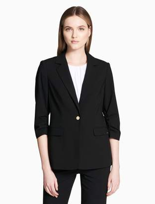 Calvin Klein luxe single button 3/4 ruched sleeve jacket